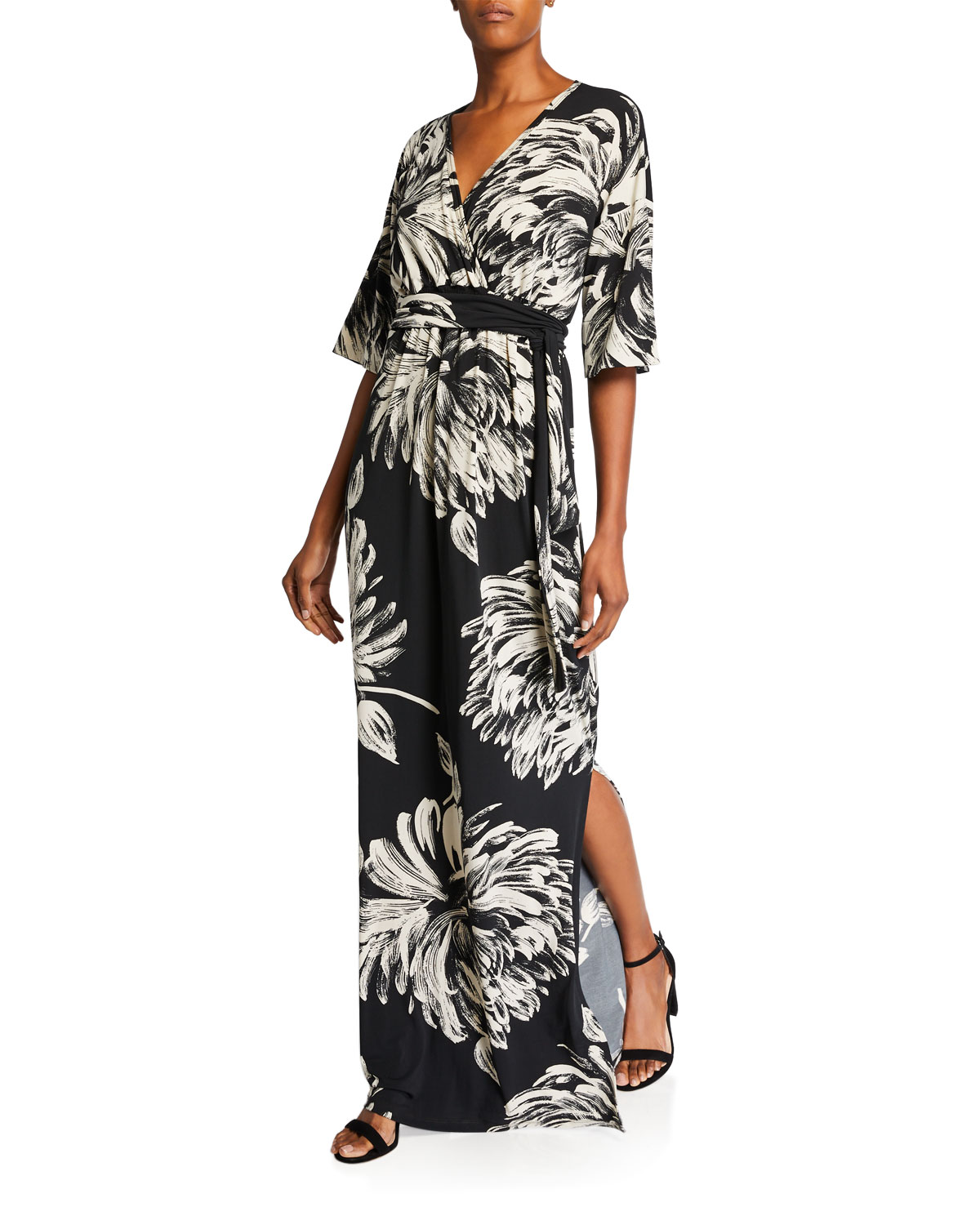 Plus Size Printed Long Caftan Dress with Belt