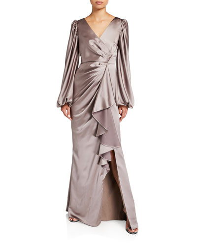 V-Neck Satin Leg Of Mutton Sleeve A-Line Gown