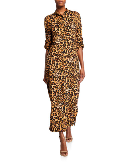 Melissa Masse Animal-Print Brushed Luxe Jersey Long Dress with Belt