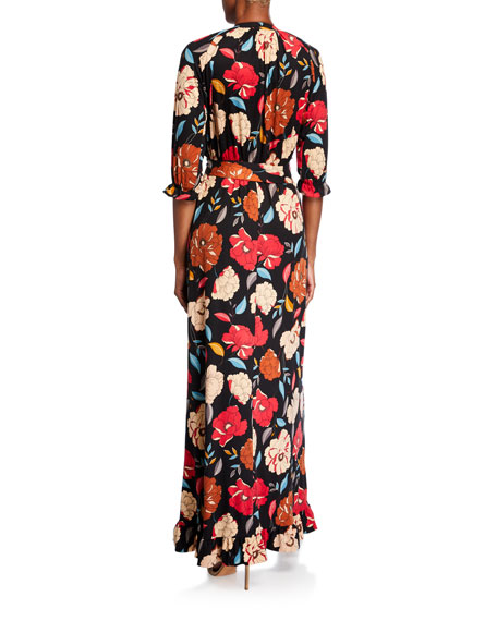 Melissa Masse Floral Brushed Luxe Jersey Long Dress with Belt