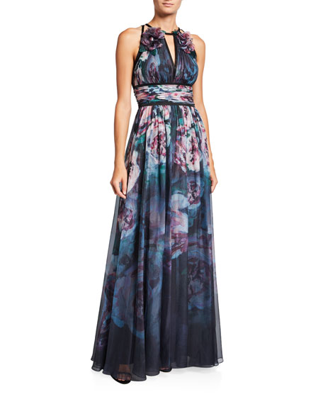 Marchesa Notte Watercolor Sleeveless Chiffon Gown with Satin Trim & Keyhole