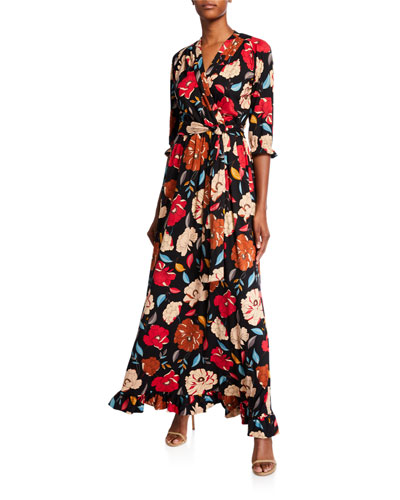 Plus Size Floral Brushed Luxe Jersey Long Dress with Belt