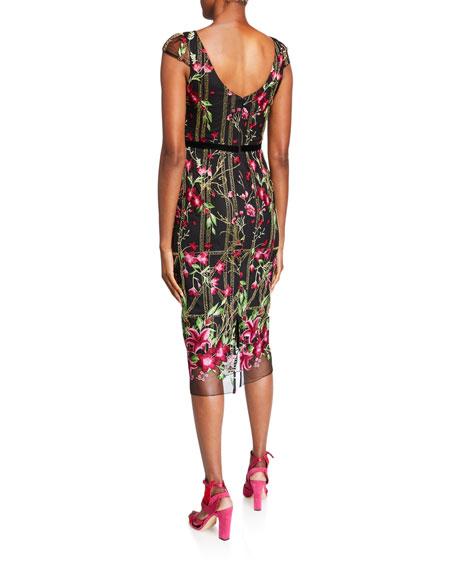 MARCHESA NOTTE Dresses FLORAL EMBROIDERED CAP-SLEEVE TEA-LENGTH DRESS