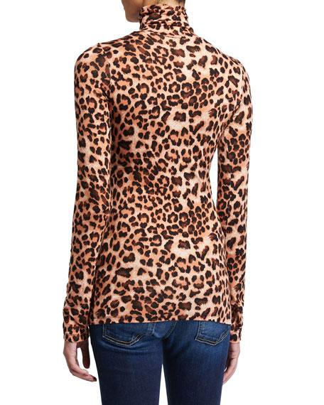 Rachel Pally Plus Size Leopard-Print Long-Sleeve Turtleneck Jersey Top