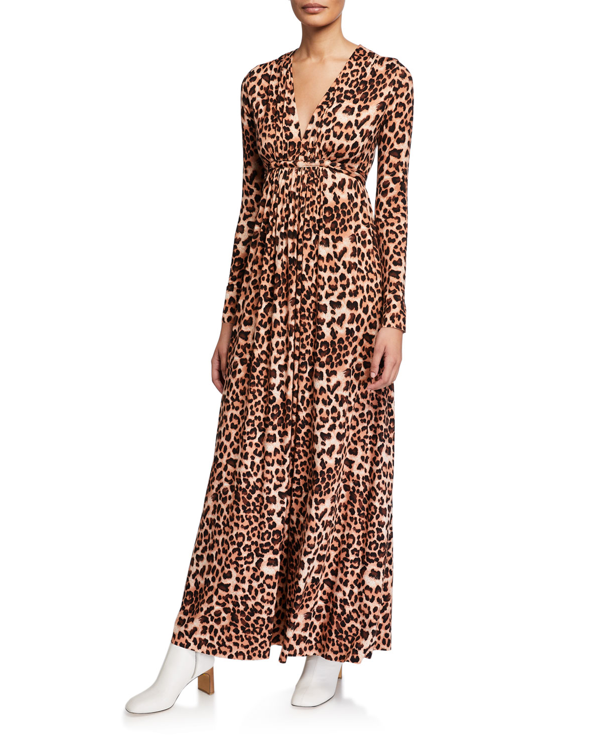 Plus Size Leopard-Print Jersey Long-Sleeve Caftan Dress