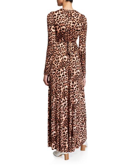 Rachel Pally Leopard-Print Jersey Long-Sleeve Caftan Dress