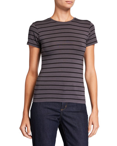 Striped Stretch Cotton Short-Sleeve Baby Tee