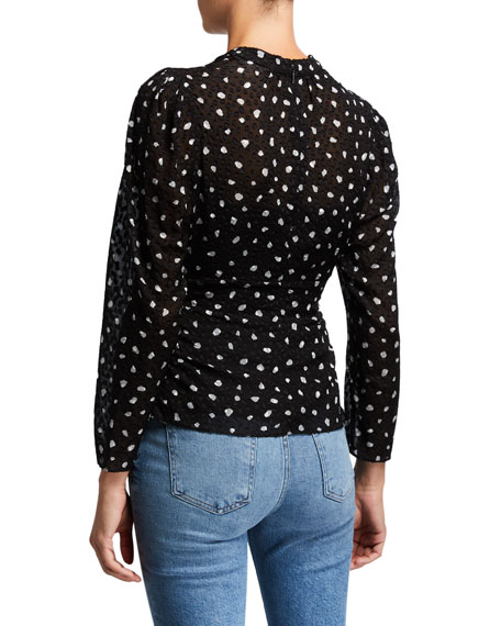 Rebecca Taylor Long-Sleeve Spotted V-Neck Top