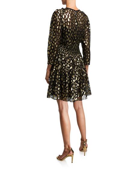 Rebecca Taylor Leopard-Print Metallic Crewneck Dress