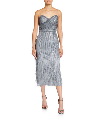 Sequin & Feather Sweetheart Midi Cocktail Dress with Spaghetti-Straps
