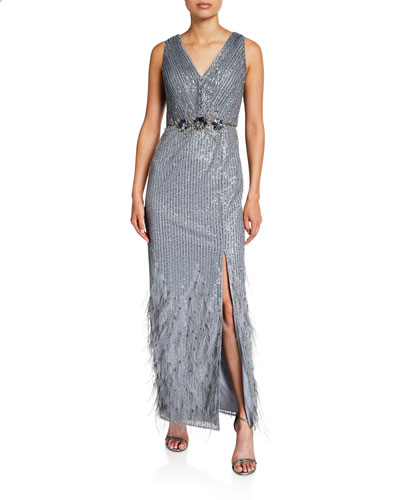Sequin Double V-Neck Sleeveless Gown with Feathered Hem & Beaded Trim