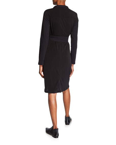Anatomie Lina Long-Sleeve Shirtdress with Cargo Details