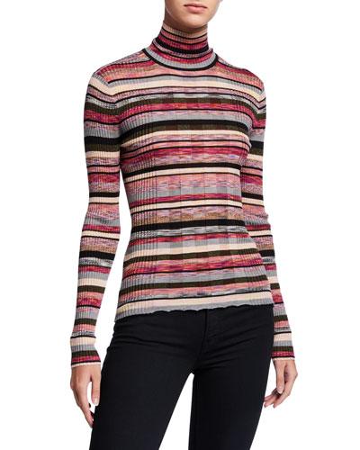 Striped Skinny Mini Rib Turtleneck Sweater