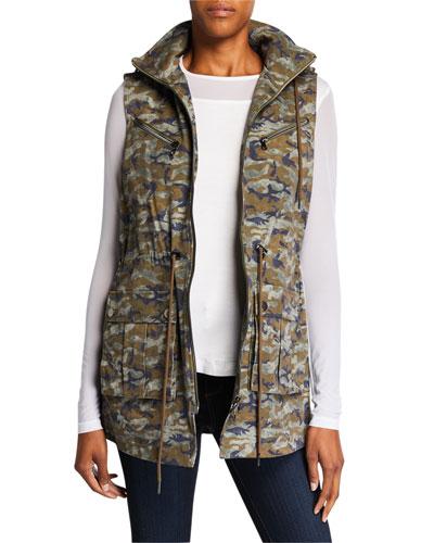 Bella Camo-Print Zip-Front Medium-Weight Vest