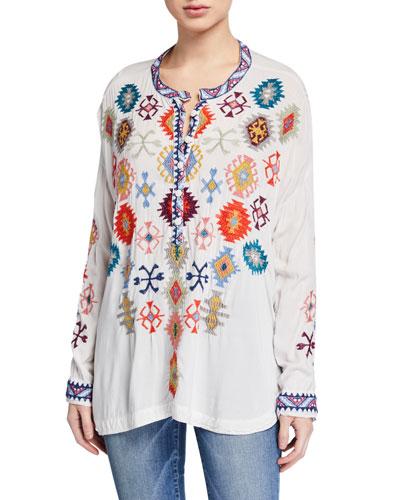 Plus Size Meshika Embroidered Challis Blouse