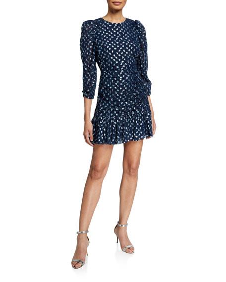 Tanya Taylor Raven Ruched Flounce Dress