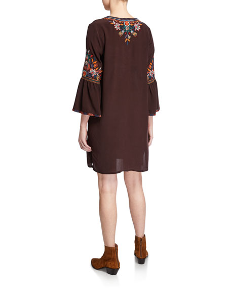 Johnny Was Lailani Floral Embroidered Flare-Sleeve Silk Tunic Dress