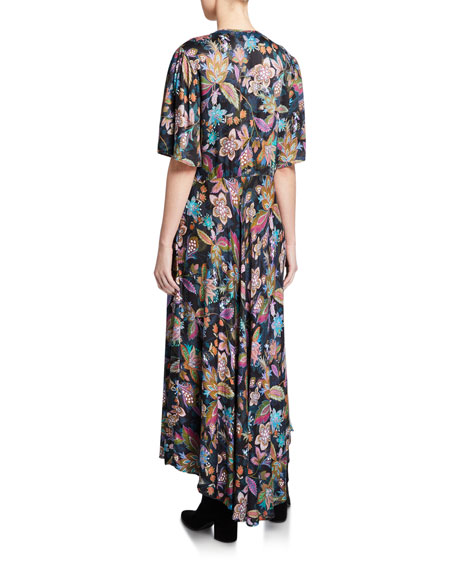 Johnny Was Floral V-Neck Flutter-Sleeve Maxi Dress