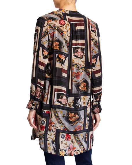 Tolani Plus Size Skylar Silk Print Long Tunic