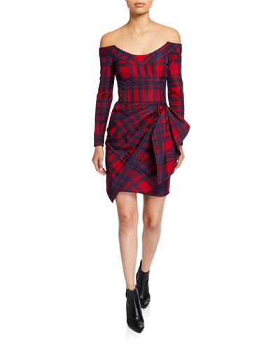 Sara Check Printed Off-the-Shoulder Dress