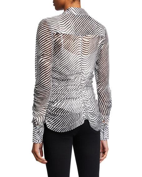 Tanya Taylor Ryann Ruched Zebra-Print Top