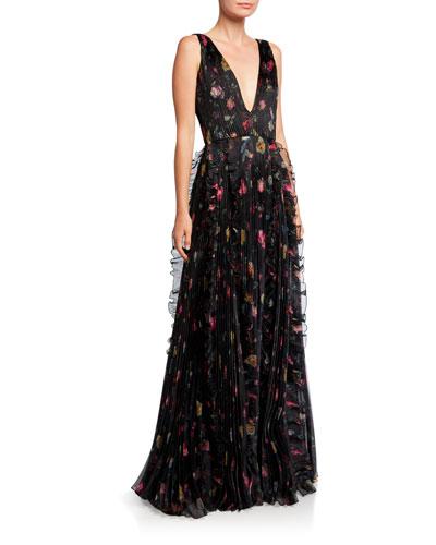 Nicole Rosebud V-Neck Sleeveless Ruffle-Trim Organza Gown