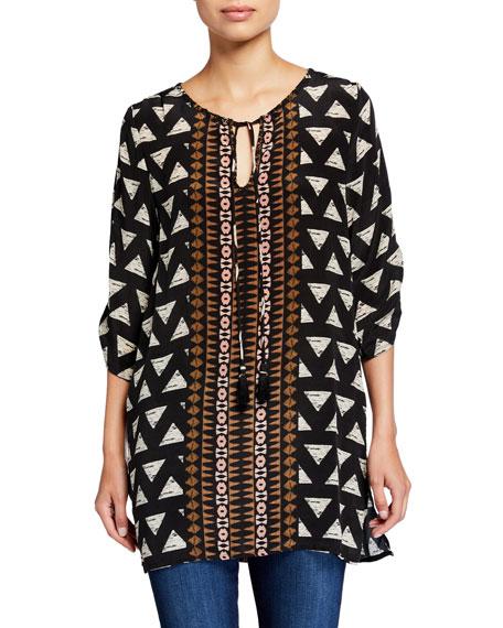 Tolani Plus Size Sasha Graphic Silk Easy Tunic
