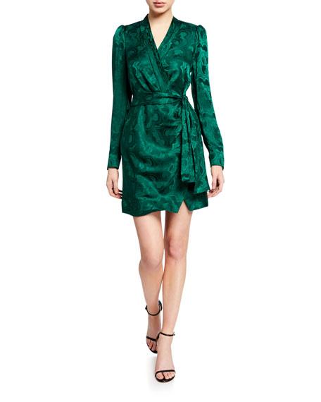 Saloni Bibi Long-Sleeve Mini Wrap Dress