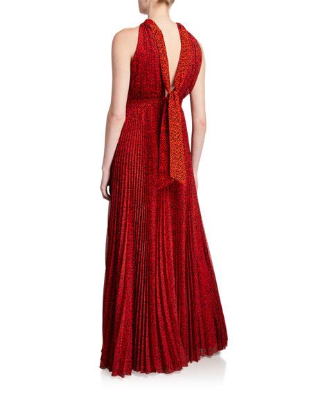 Alice + Olivia Kelissa Halter Sunburst Pleated Maxi Dress