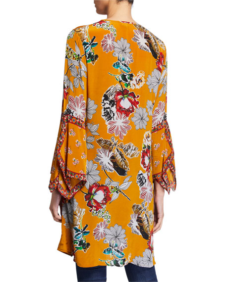 Tolani Plus Size Lucy Print Long Tunic with Drama Sleeves