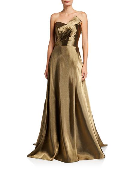 Rene Ruiz Strapless Metallic Bustier Gown