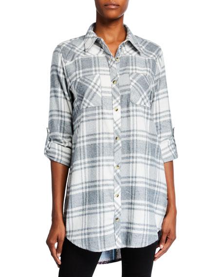 Tolani Plus Size Tina Plaid Button-Down Tunic with Printed Back