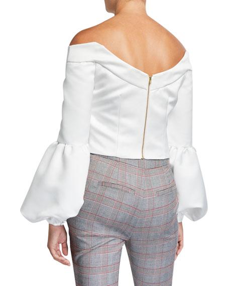 flor et.al Ken Satin Off-the-Shoulder Puff-Sleeve Cropped Blouse