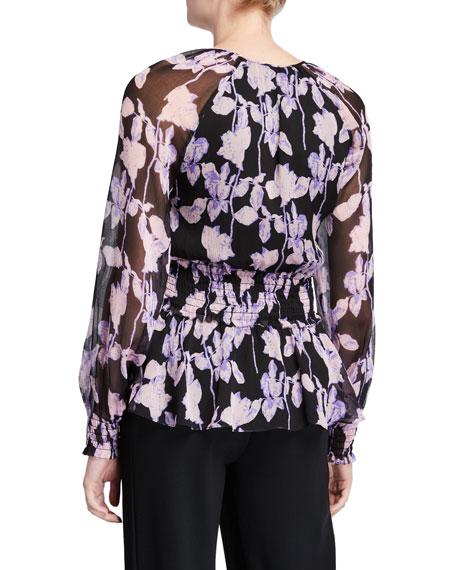 Diane von Furstenberg Jacie Floral Tie-Neck Silk Blouse