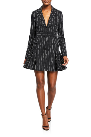Alexis Kaedan Striped A-Line Belted Mini Dress