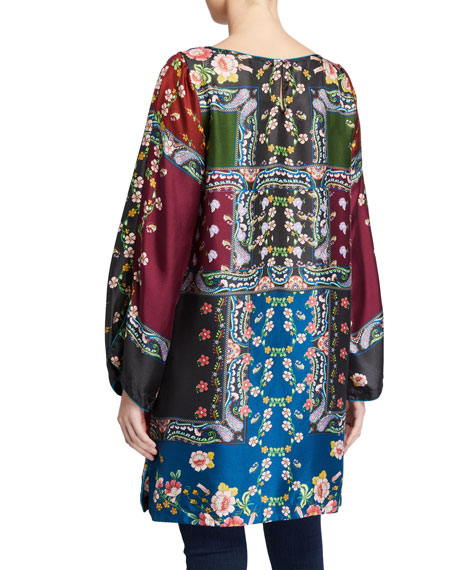 Johnny Was Cordia Printed Boat-Neck Long-Sleeve Silk Tunic