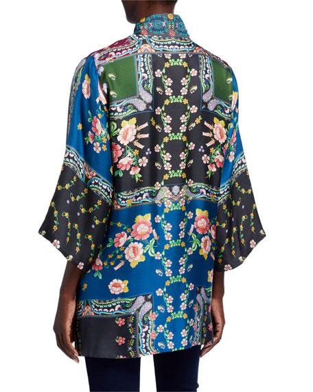 Johnny Was Heavy Silk Twill Paisley Kimono