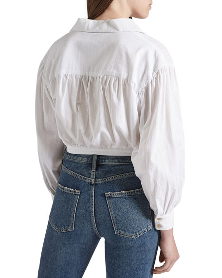 Current/Elliott The Oakenfold Cropped Button-Down Blouse