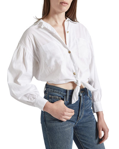 The Oakenfold Cropped Button-Down Blouse