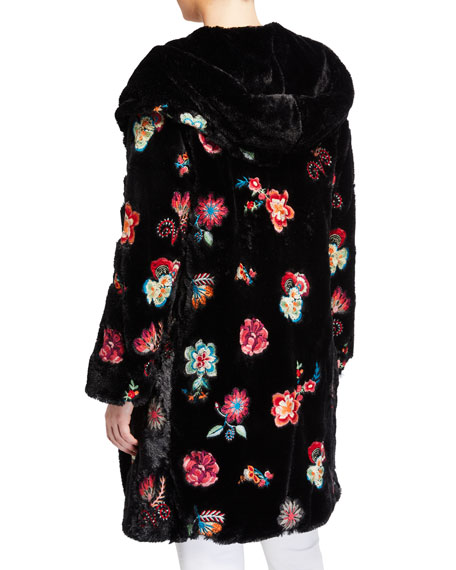 Johnny Was Myanmar Faux-Fur Embroidered Flower Coat