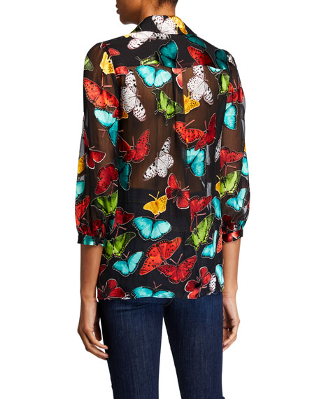 Alice + Olivia Sheila Butterfly Blouson-Sleeve Button-Front Top