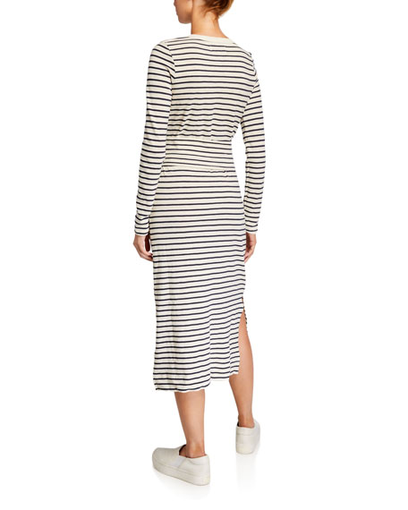 Current/Elliott The Studio Striped Long-Sleeve Dress