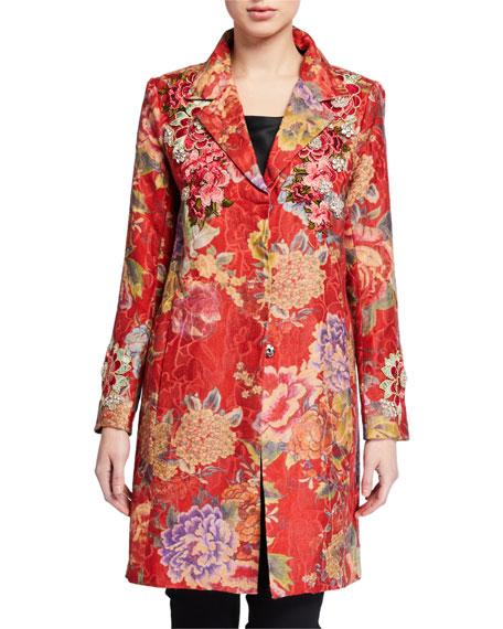 Johnny Was Lodi Floral Button-Front Embellished Topper Coat