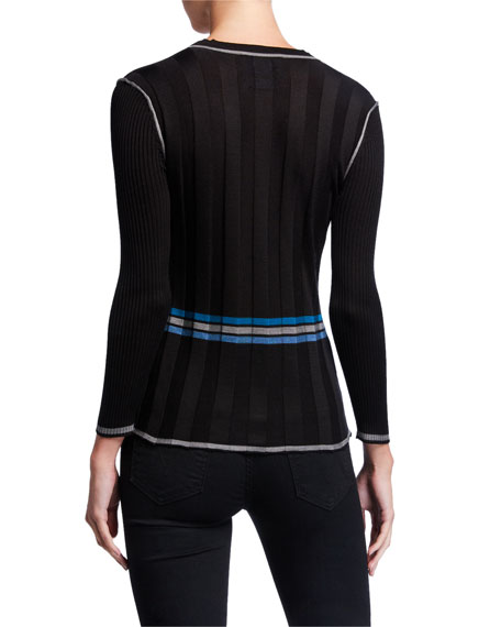JED 3/4-Sleeve Piped Button-Front Cardigan w/ Back Stripe