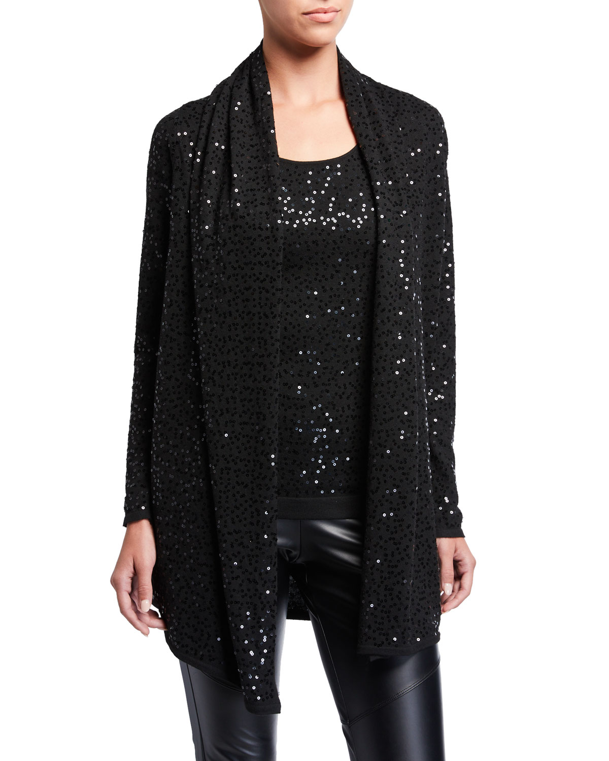 Sequined Lightweight Open Cardigan by Natori