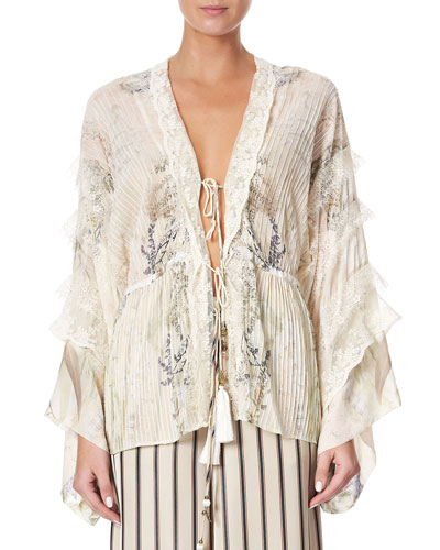 Tie-Front Printed Lace Kimono