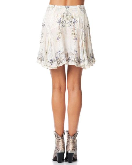 Camilla Yoked Silk Godet Mini Skirt