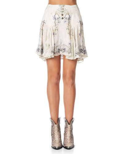 Yoked Silk Godet Mini Skirt