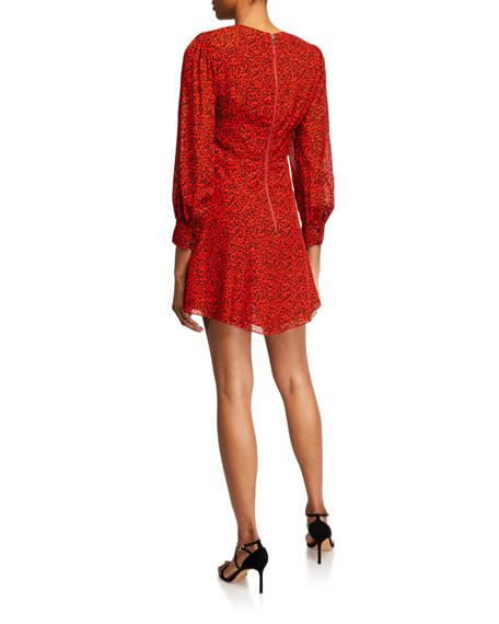 Alice + Olivia Polly Animal-Print Strong-Shoulder Dress