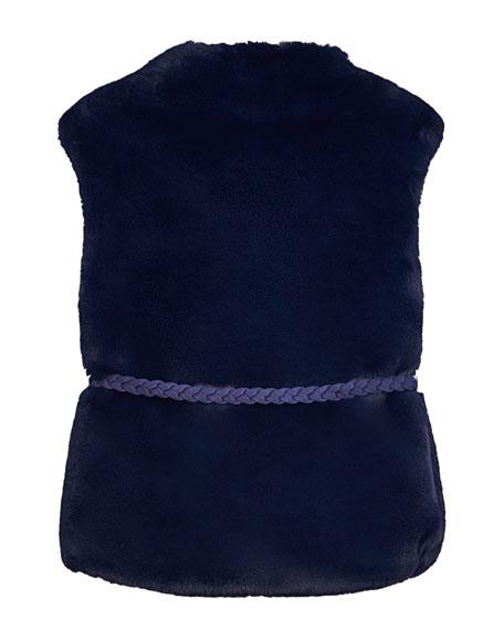 Mayoral Girl's Faux Fur Vest w/ Belt, Size 8-16
